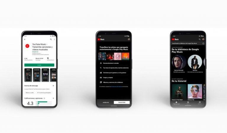 Inicia la mudanza de contenido de Google Play Música a YouTube Music
