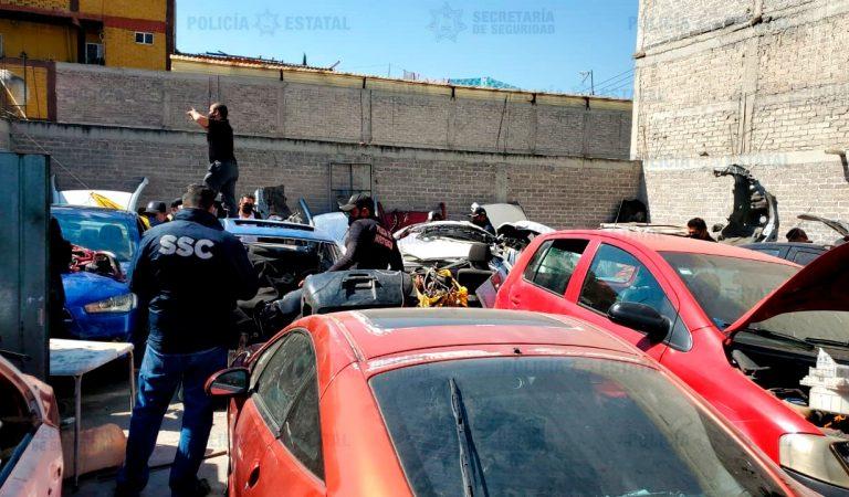 SS estatal y de la CdMx localizan predio con vehículos desvalijados y autopartes robadas en Chicoloapan